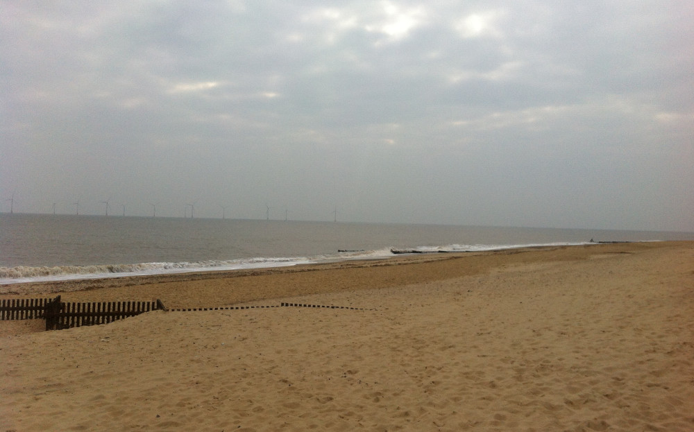 The beach at Caister-on-Sea, close to Driftwood Cottage